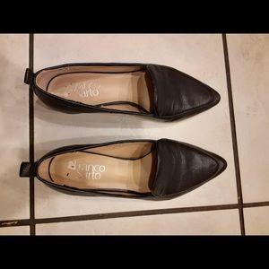 Franco Sarto Flats Black Leather Women's 6